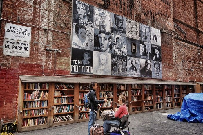 bookstore-Brattle Book Shop in Boston, Massachusetts.  One of the largest antiquarian book shops in the US, the Brattle Book Shop was founded in 1825 and offers a unique experience of outdoor bookstalls. If it's a bit too cold or hot outside, you are more than welcome to go inside and see the other three levels of the bookstore.