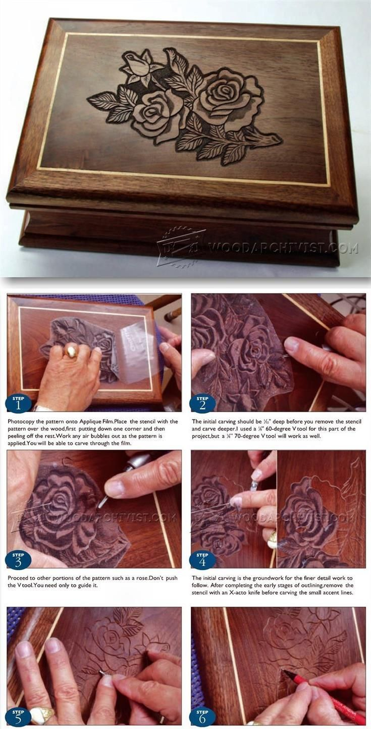 Carved jewelry box lid wood carving patterns and techniques