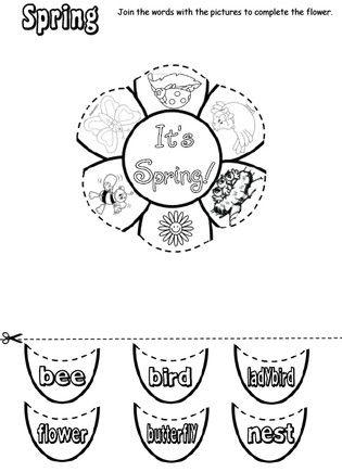 Kindergarten Spring cut and paste worksheets {teacherslove