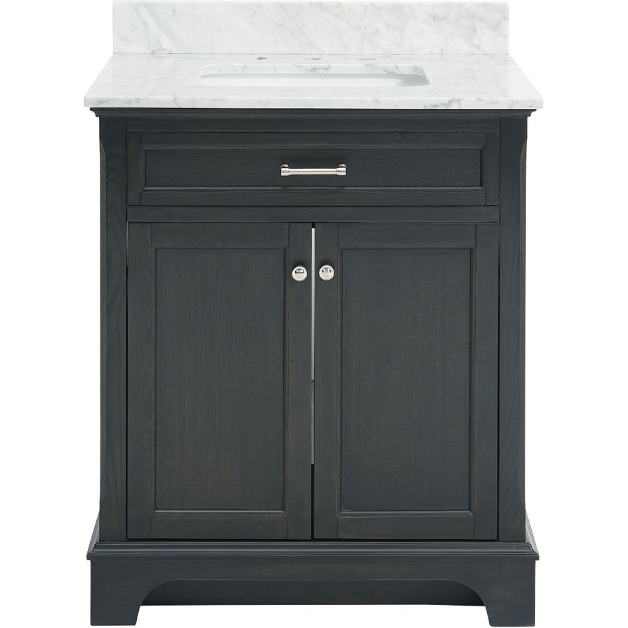 Allen + Roth Roveland Gray 30-in Undermount Single Sink Birch Bathroom  Vanity With Natural