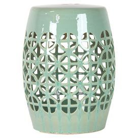 Green ceramic garden stool with a circle motif product stoolconstruction material - Deco hangende toilet ...