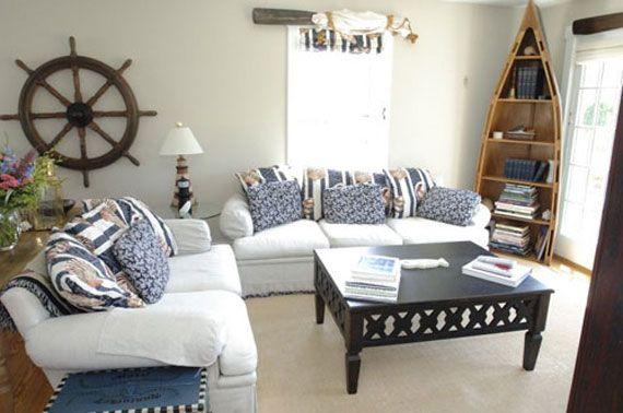 Steering Wheel And Bookshelf Are Awesome! | Beach Theme Living Room, Nautical Living Room, Nautical Decor Living Room