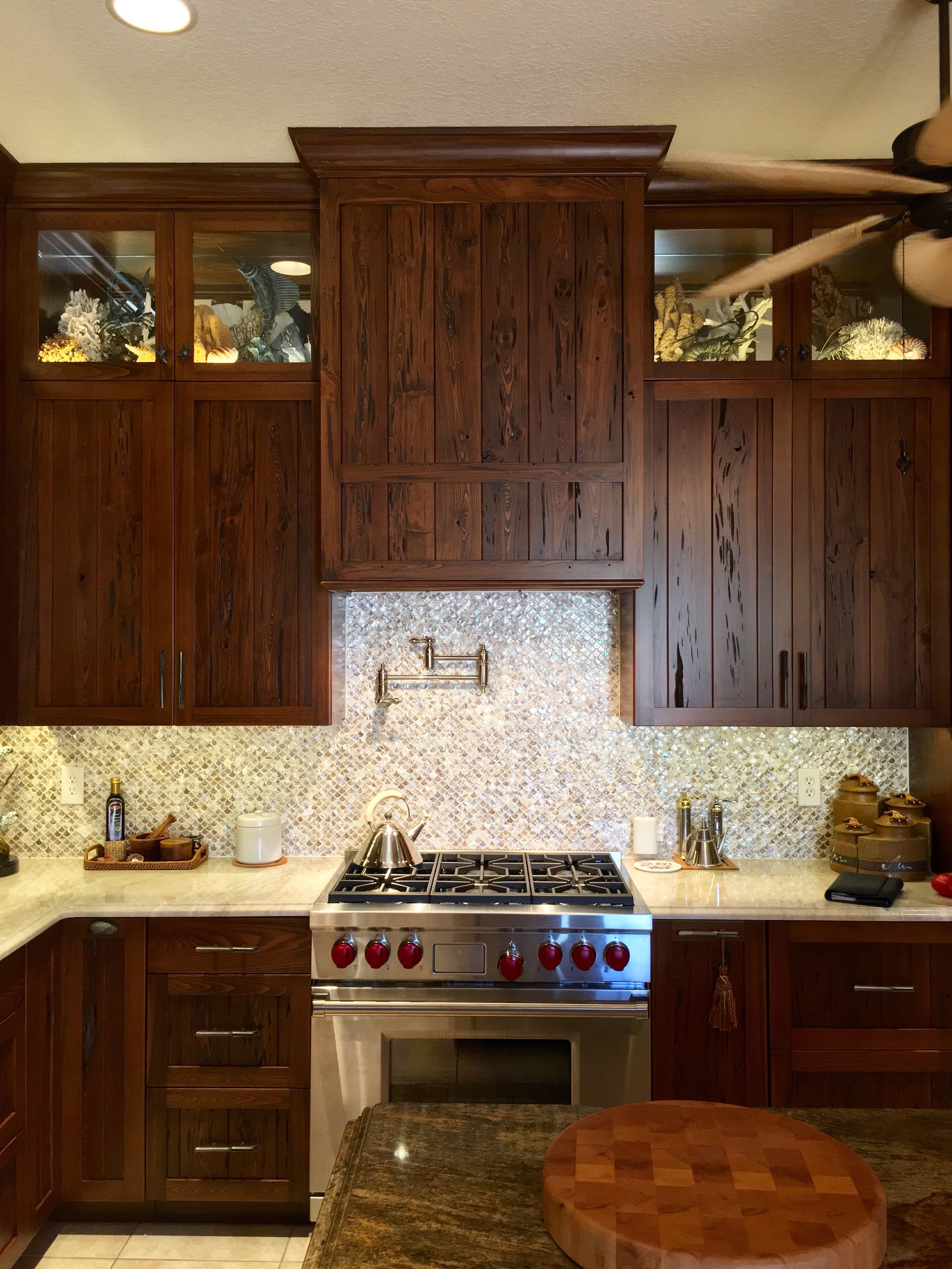Countertops Are Natural Quartzite Taj Mahal Cabinets Are Pecky Cypress Exteriors Kitchen Redo Pecky Cypress Kitchen Renovation