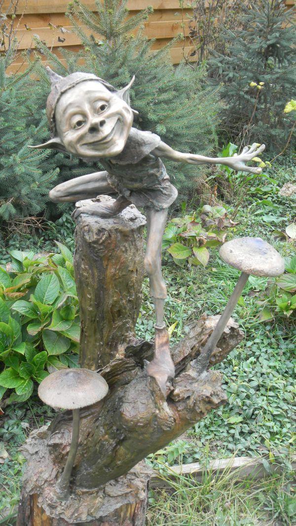 Bronze Garden Sculpture By Artist Victoria Chichinadze Titled: U0027Flyer ( Bronze Gnome And Elf Garden Statuette)u0027