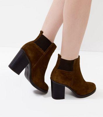 Grey Comfort Suede Block Heel Chelsea Boots   Tan suede
