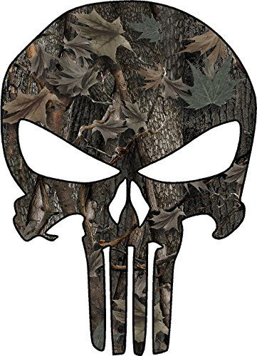avgrafx Punisher Camo Skull Decal 10 Inches Laminated