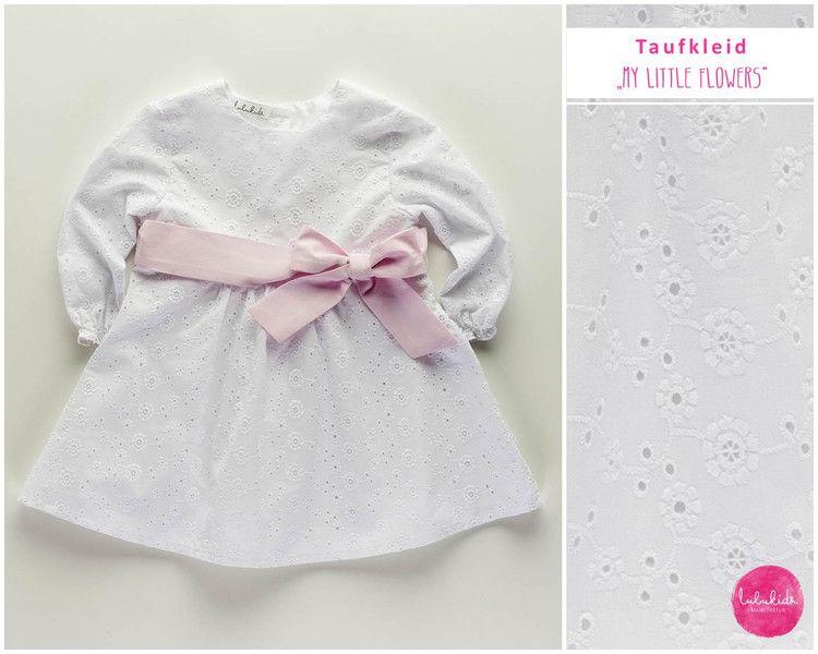 Taufbekleidung - Langarm Taufkleid weiß mit rosa Gürtel Baumwolle ...