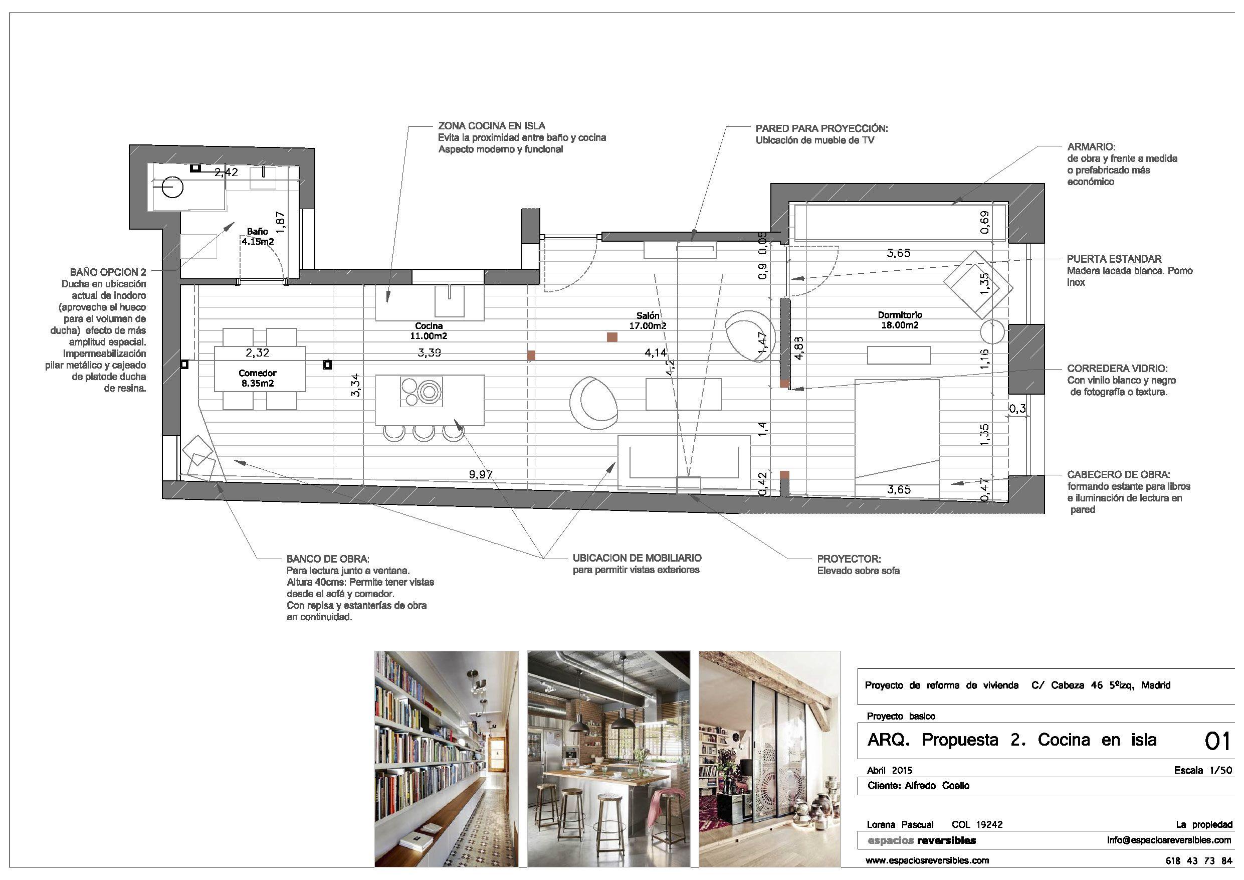 Proyecto de rehabiliación integral de vivienda en Palacio, Madrid. Anteproyecto arquitectónico de distribución espacial.