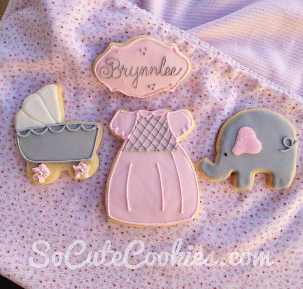 pink and grey baby shower cookies | Cookie ideas ...