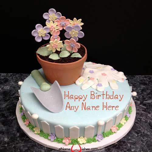 Garden Birthday Wish Cake With Name Birthday Snacks Birthday Wishes Cake Cake Name