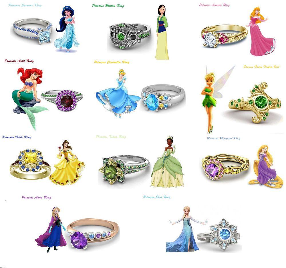 14K Gold Over Round Cut Diamond Disney Princess Engagement ...