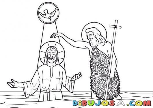 Dibujo del bautizo de Jesus para colorear | COLOREAR BIBLICOS ...
