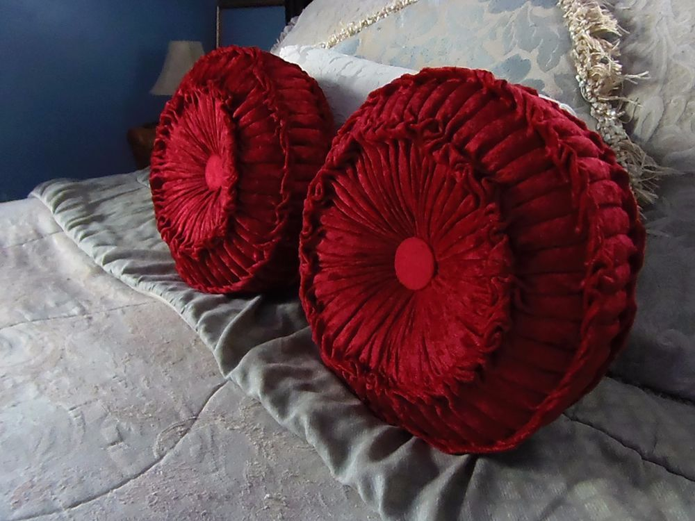Round Vintage Style Pillows Hand Smocked, Pintuck, Tufted, Burgundy Red Velvet # ...