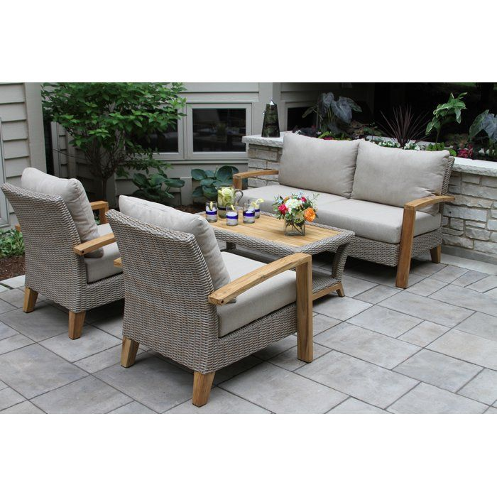 Dillards Furniture Sale: Dillard 4 Piece Teak Sofa Seating Group With Cushions In