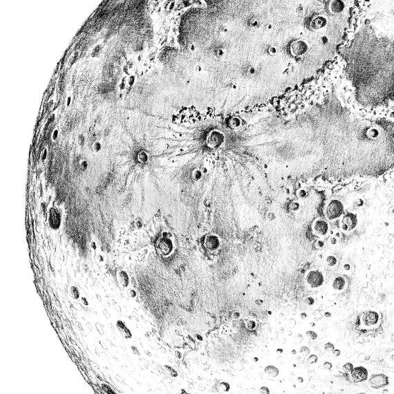 Pencil Realistic Moon Drawing