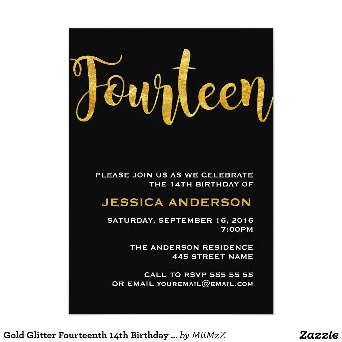 gold glitter fourteenth 14th birthday invitation teens 13 17