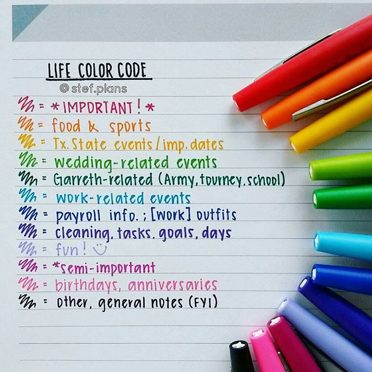 Life color code for planner stef plans diy bullet for Color coding planner