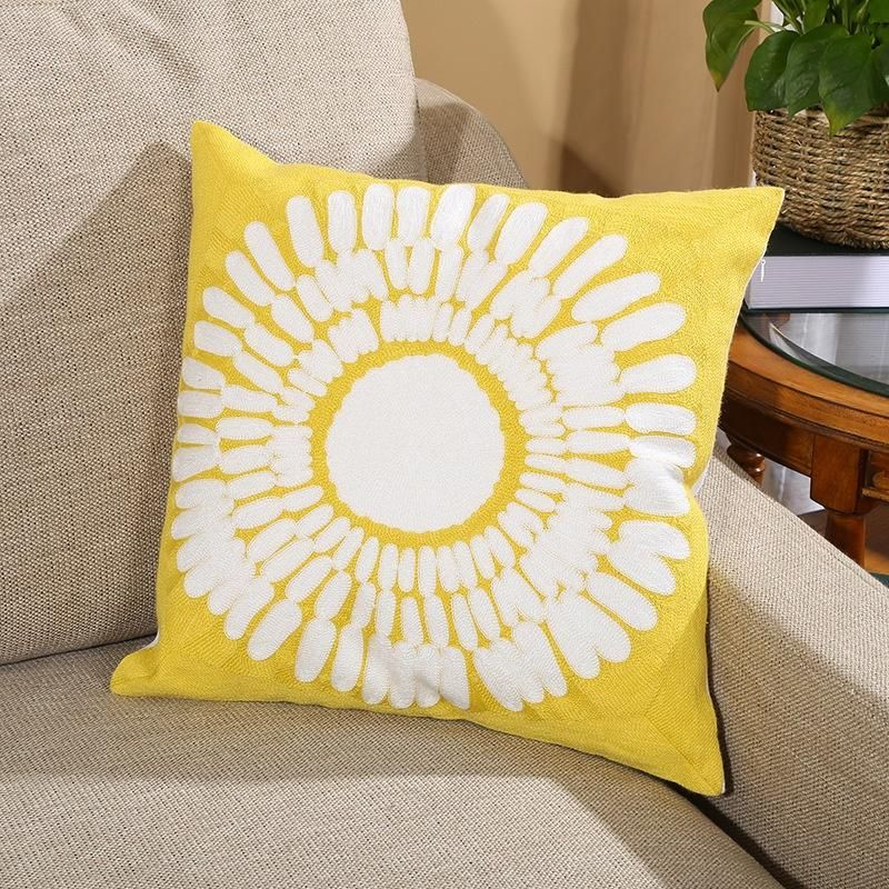 """Yellow Sunflower Cushion Cover 18 x 18"""" Geometric Full Embroidery Pillow Cover Home decoration for Living Room BedRoom"""