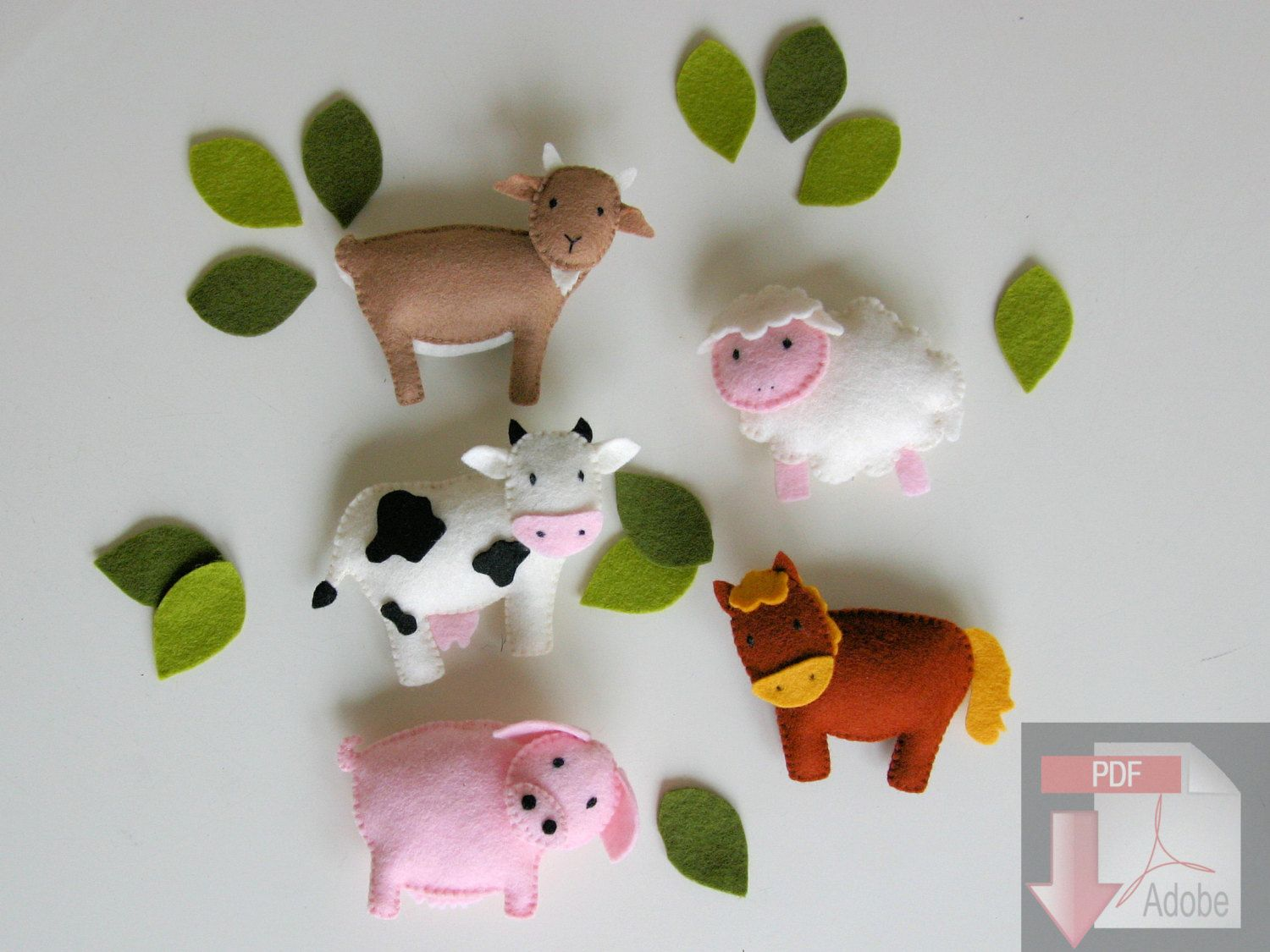Pig christmas ornaments - Pattern Felt Ornaments 6 Farm Animals Mobile Country Crib Mobile Diy Wool Felt Pattern Cow Goat Sheep Horse Pig Hog Rooster Baby Mobile