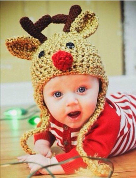 21eeeb1799ca7 Oatmeal Reindeer Baby Hat - Reindeer Hat - Baby Reindeer Hat - Oatmeal  Reindeer Hat - Christmas Cos