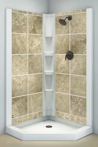 Intrigue 39 X 39 Tuscan Marble Neo Angle Shower Wallset At