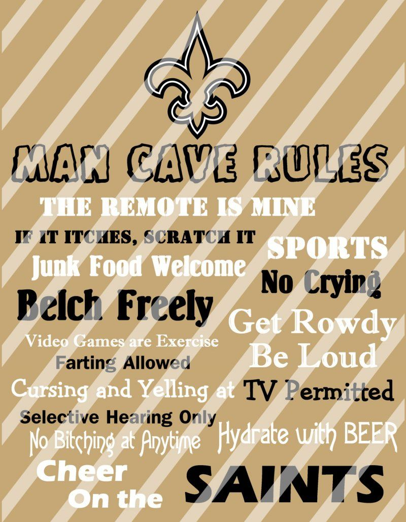 New Orleans Saints Man Cave Rules Wall Decor Sign (digital or photo ...