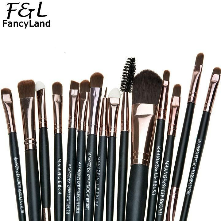 Photo of 15pcs Makeup Brushes Synthetic Make Up Brush Set Tools Kit Professional Cosmetics
