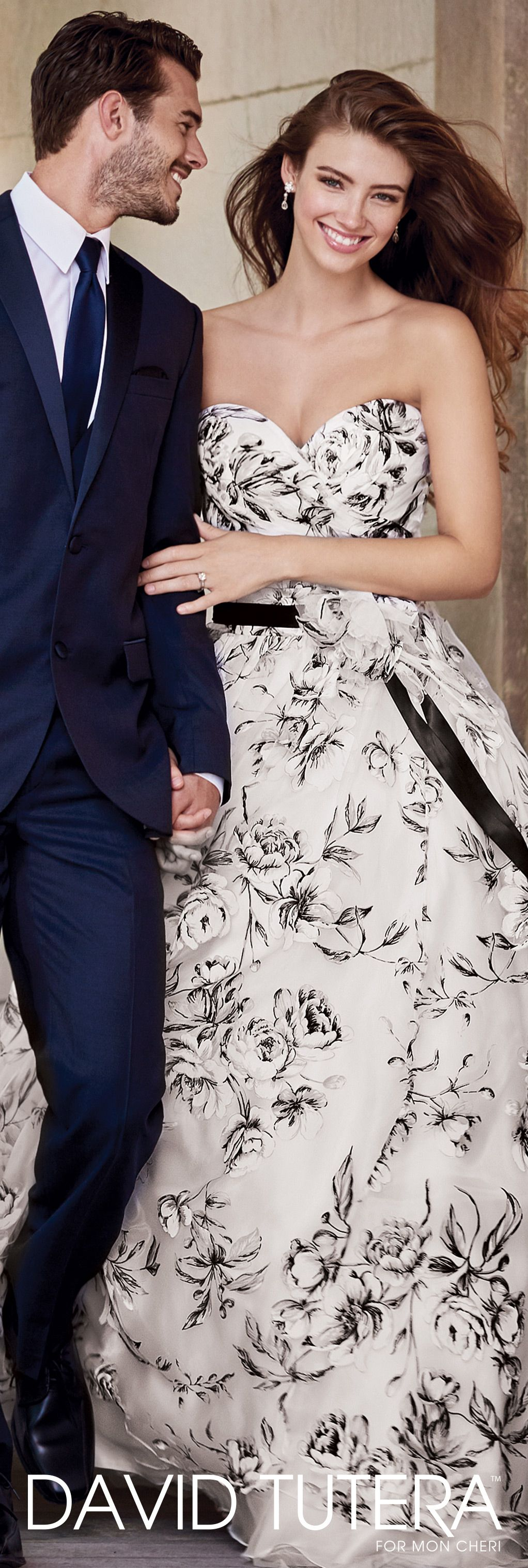 8ddf0d7b13f David Tutera for Mon Cheri Spring 2017 Collection - Style No. 117283  Orabelle - strapless black and white floral wedding dress with satin ribbon  flowered ...