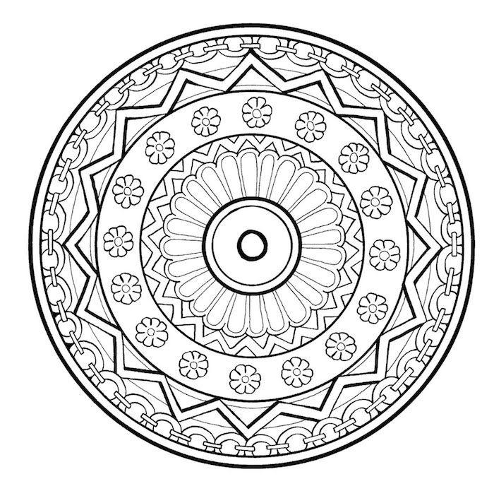 ausmalbilder blumen zum ausdrucken ein schwarzer mandala