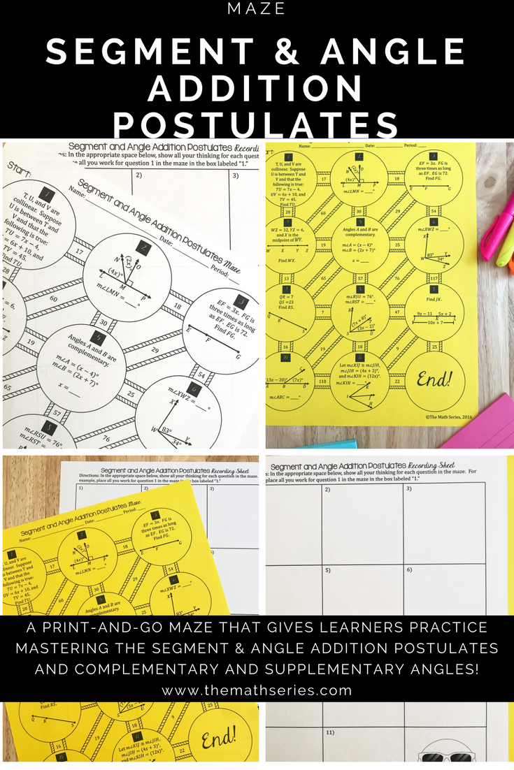 want your students to master the segment and angle addition postulates this maze gives them practice applying both as well as an opportunity to use their - Angle Addition Postulate Worksheet