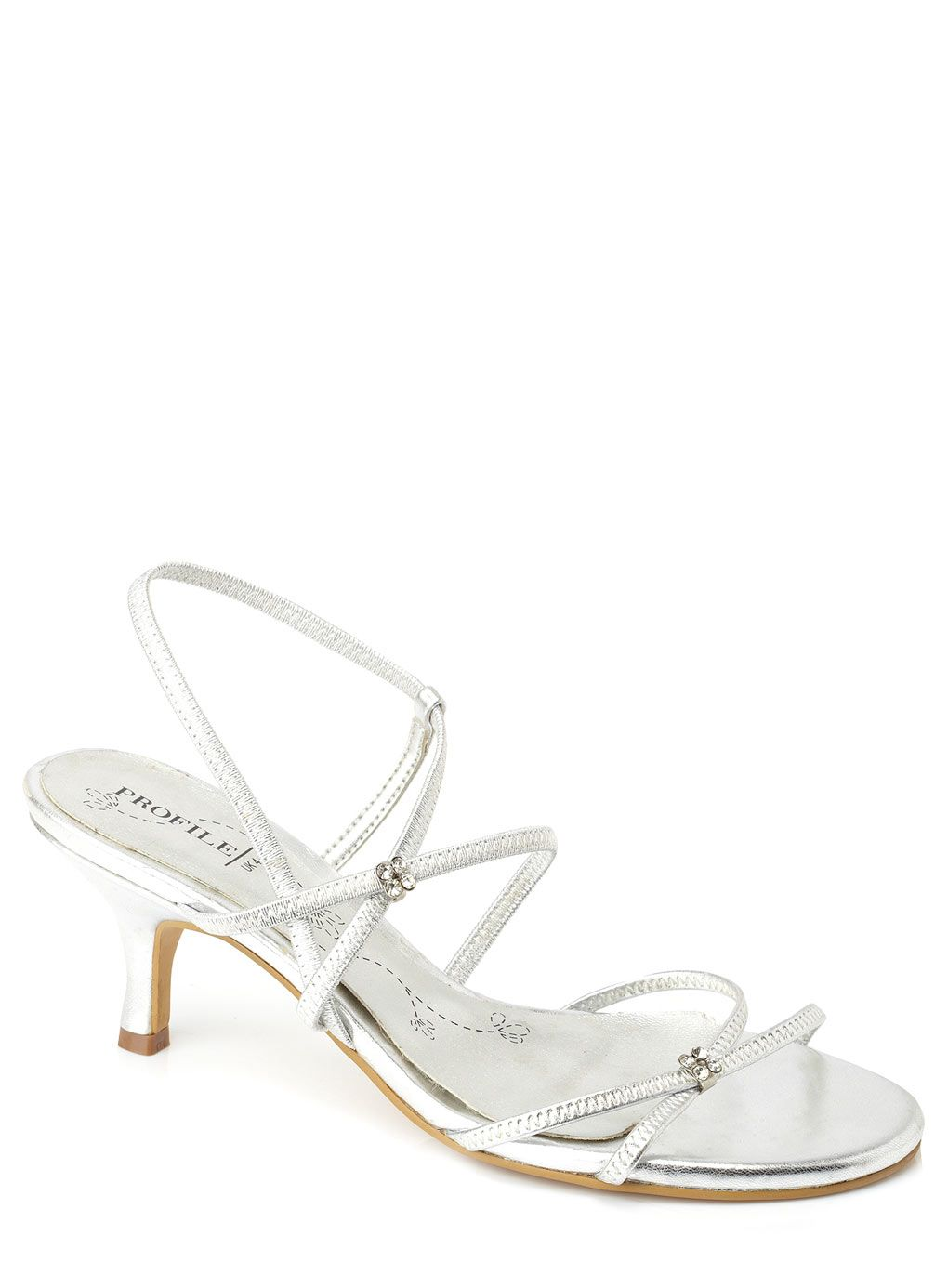 Silver Diamante Strappy Sandal 23 Bridesmaid Shoes Heels Shoes