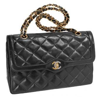 Chanel Quilted Lambskin Double Flap Bag W Gold Silver Cc Logo Chanel Quilted Lambskin Chanel Double Flap Bags