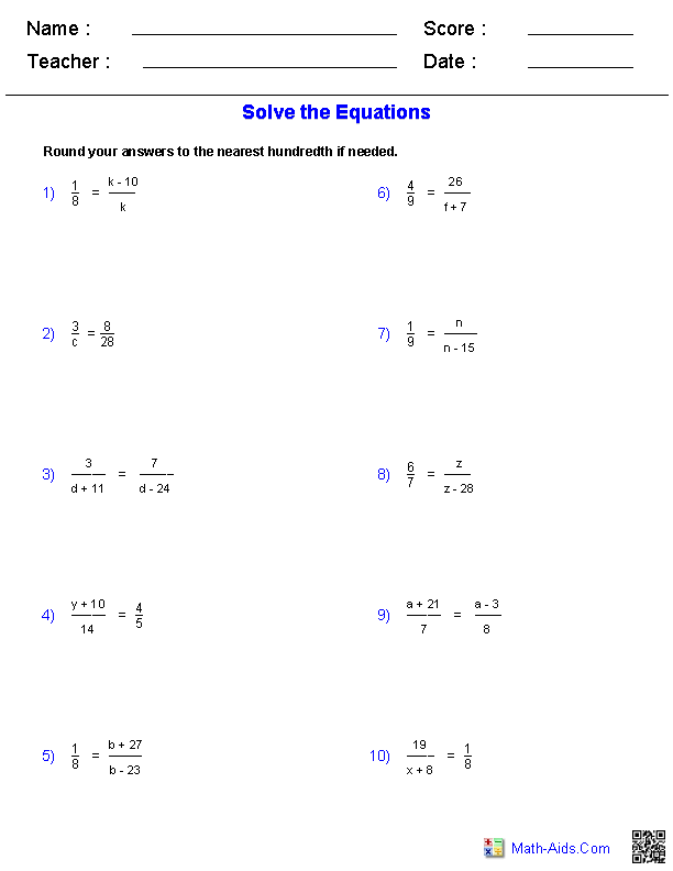 Solving Proportions Equations Worksheets Kids Educational