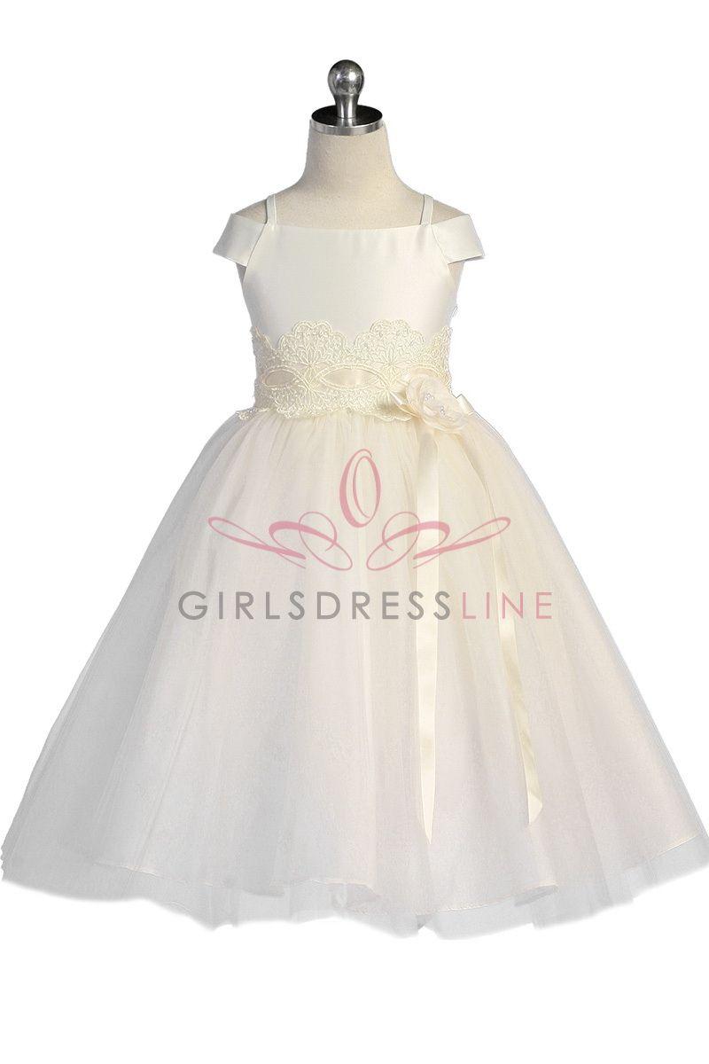 4fa1d64d1f Flower Girl Dresses - Girls Dress Style 596 - IVORY Short Sleeve Satin Dress  with Sequin Detailing