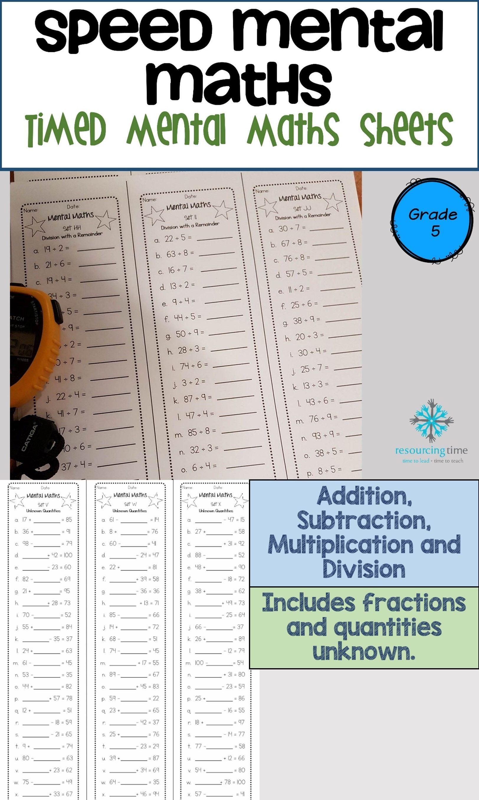 45 Mental Maths Sheets For Your Students To Increase Their Fluency And Accuracy With Addition Subtraction Multiplica Mental Math Math Mental Math Strategies [ 2707 x 1624 Pixel ]