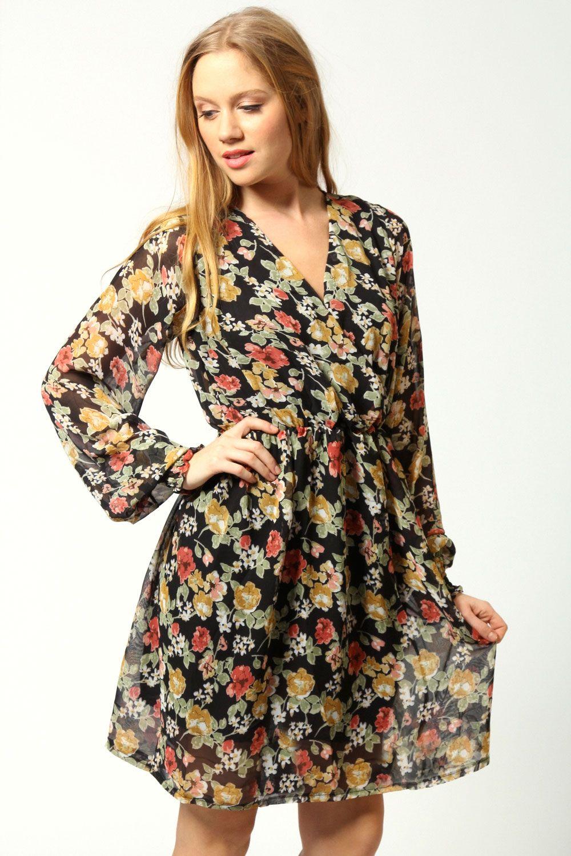 0031f1b60eb Ellie Floral Long Sleeve Front Wrap Dress