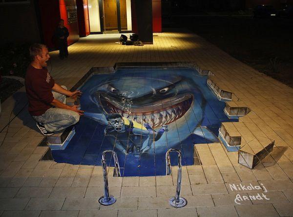 Scary:) 3D chalk art