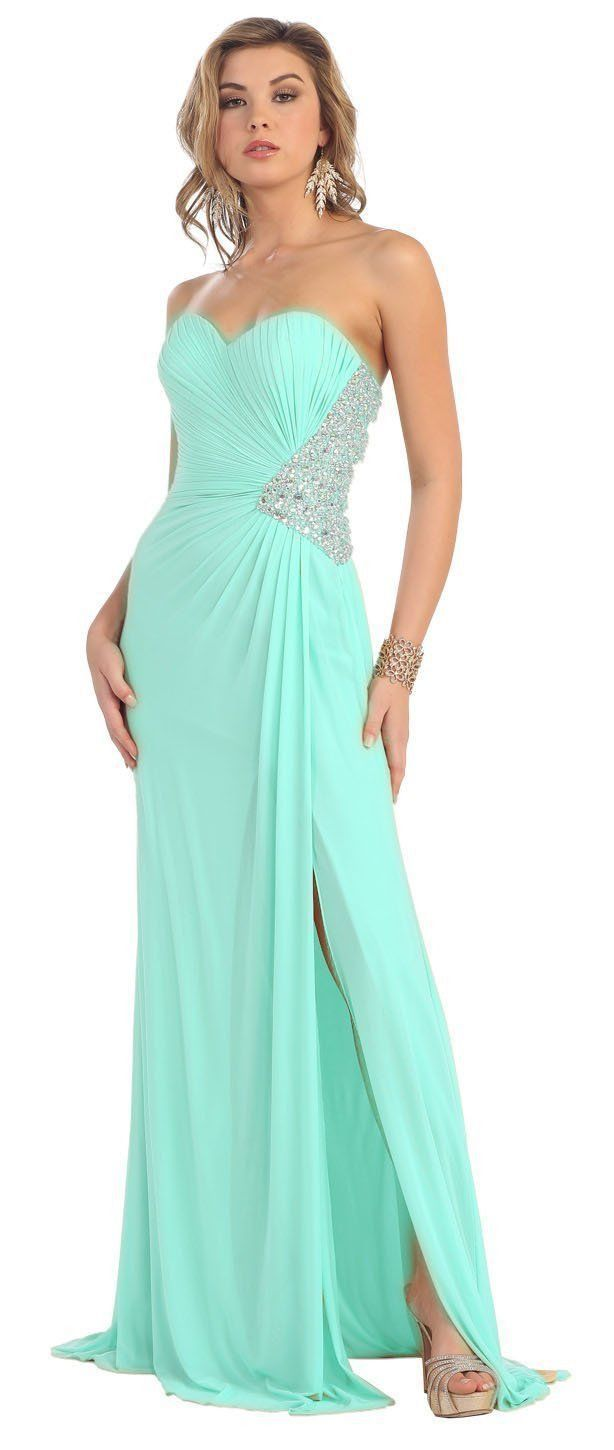 Long Sequins Chiffon Strapless Low Back Prom Formal Dress | Formal ...