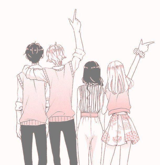 Aesthetic Anime Art Boy Cute Friends Girl Illustration Pink