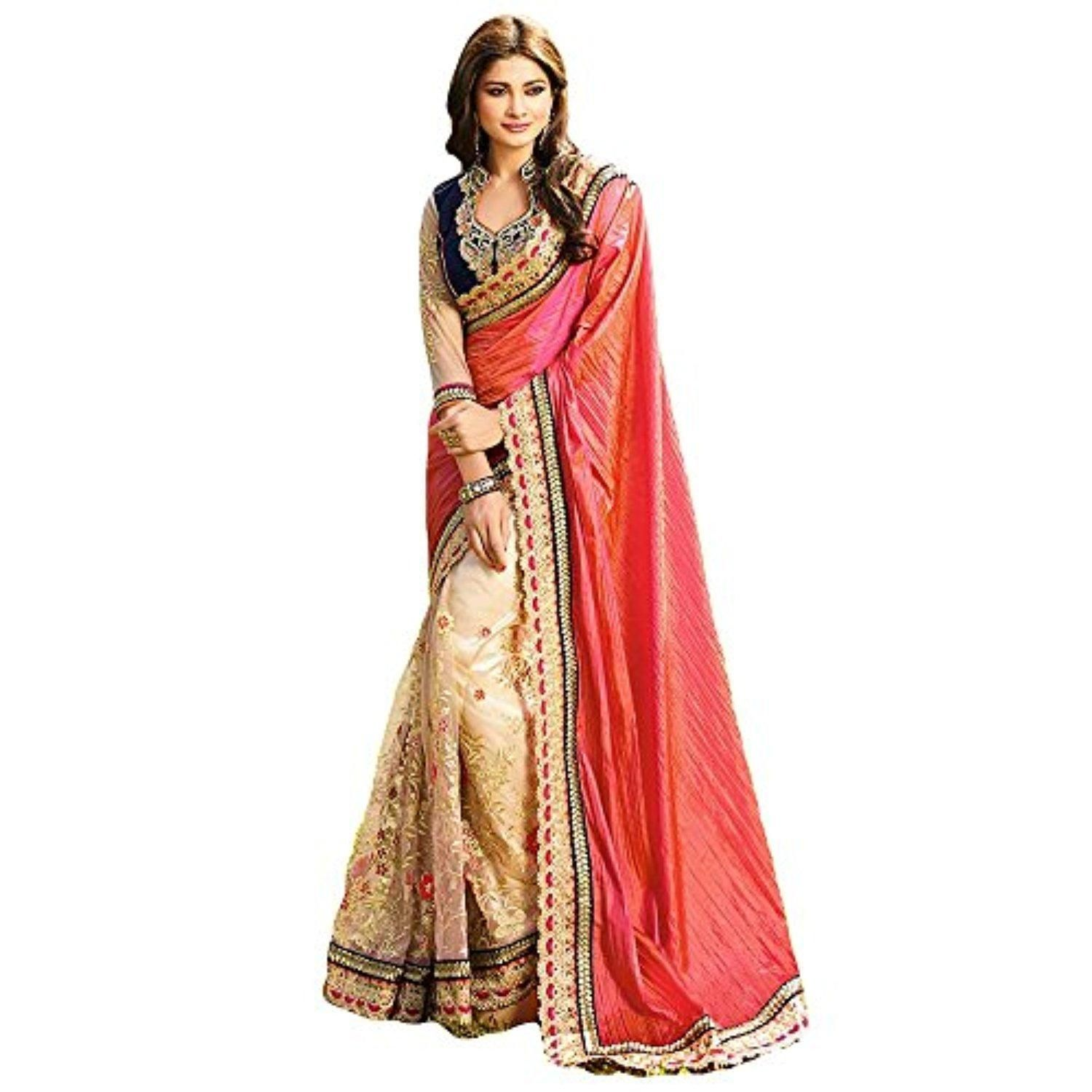 Shree Designer Sarees Women's Cream and Shaded Pink Color Saree - Brought to you by Avarsha.com