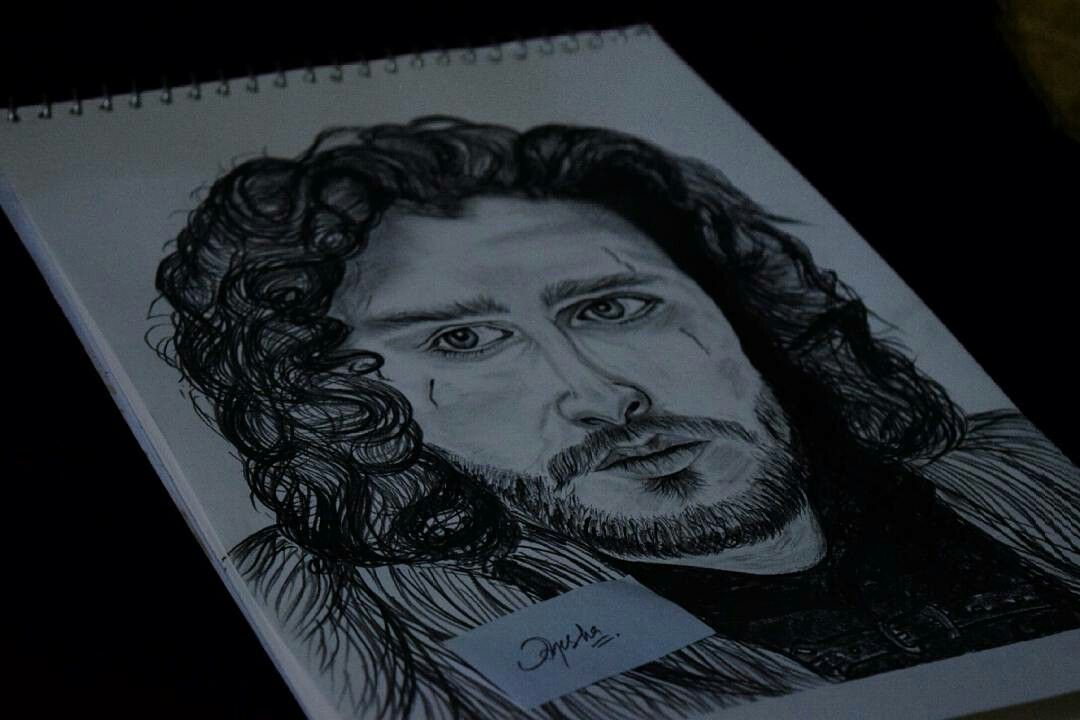 """You know nothing"" Pencil sketch of John Snow ♥                      #kitharrington #johnsnow #got #gameofthrones #myartwork"