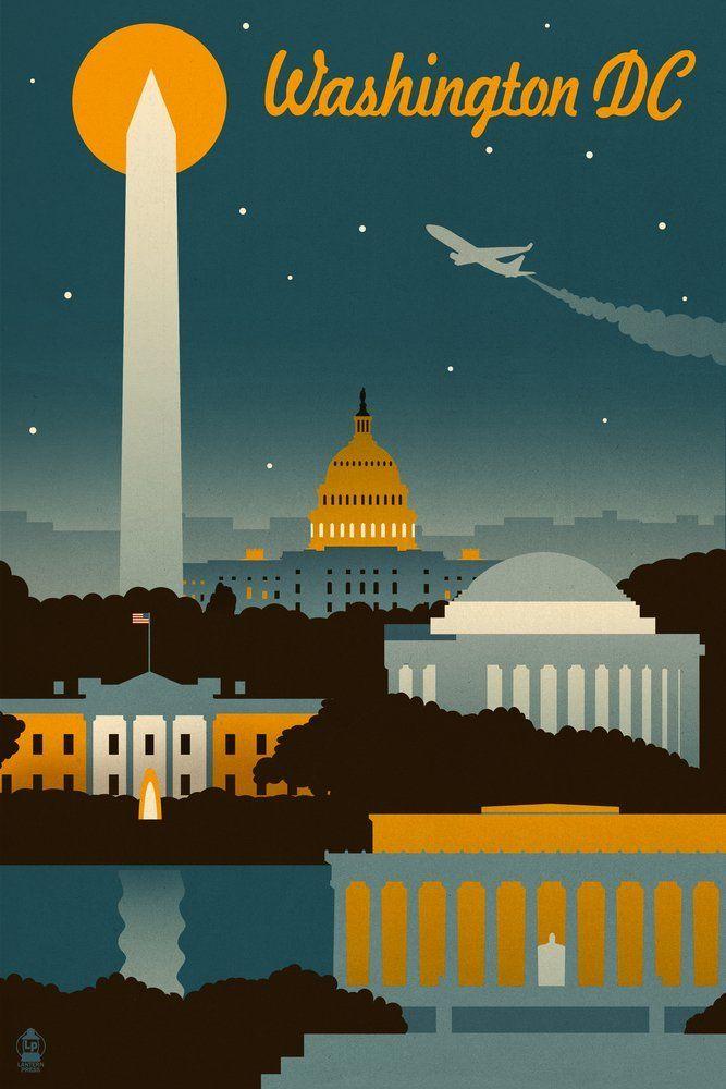 Amazon com: Washington, DC - Retro Skyline (12x18 Art Print