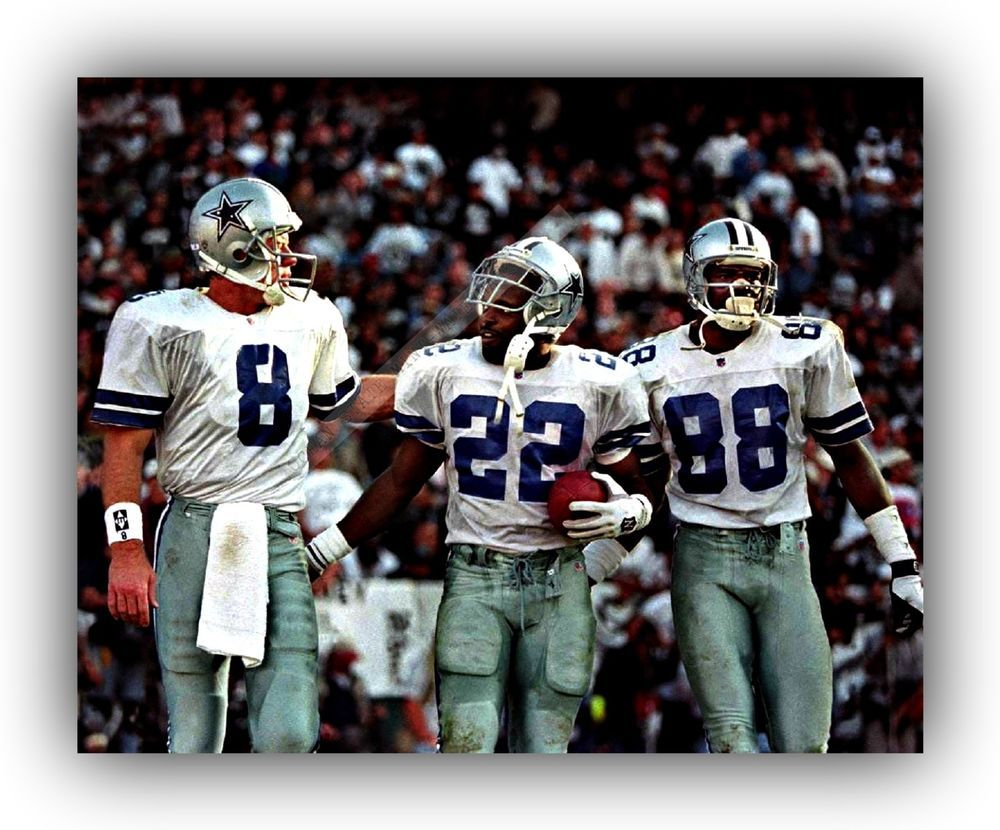 cc493b051 Troy Aikman-Emmitt Smith Michael Irvin Cowboys 8x10 Picture For  Signings-Multi