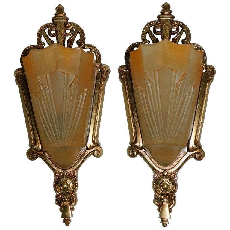 Pair Of Art Deco American Wall Sconces Circa 1925 With Original Slip Shades In 2020 Wall Sconces Art Deco Wall Sconce Lighting
