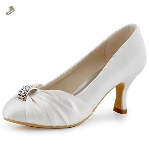 Elegantpark Hc1526 Women Pumps Mid Heel Peep Toe Brooch Ruched