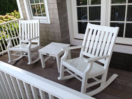 Pair Of Weatherend White Lacquer Porch Rocking Chairs And Two End Tables Rocking Chair Porch White Rocking Chairs Outdoor Living Areas