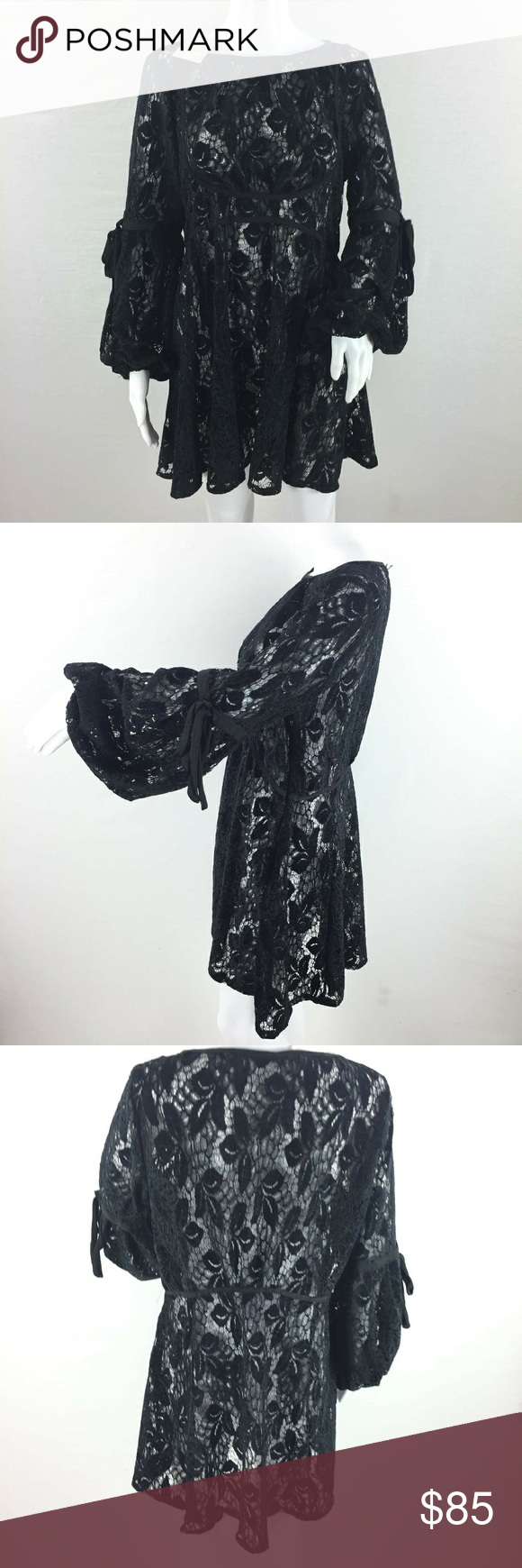 5079df09abb0 Free people ruby lace tunic dress size small black Brand new with tags. Free  people Ruby all lace tunic dress Womens size small black floral puff sleeve  ...