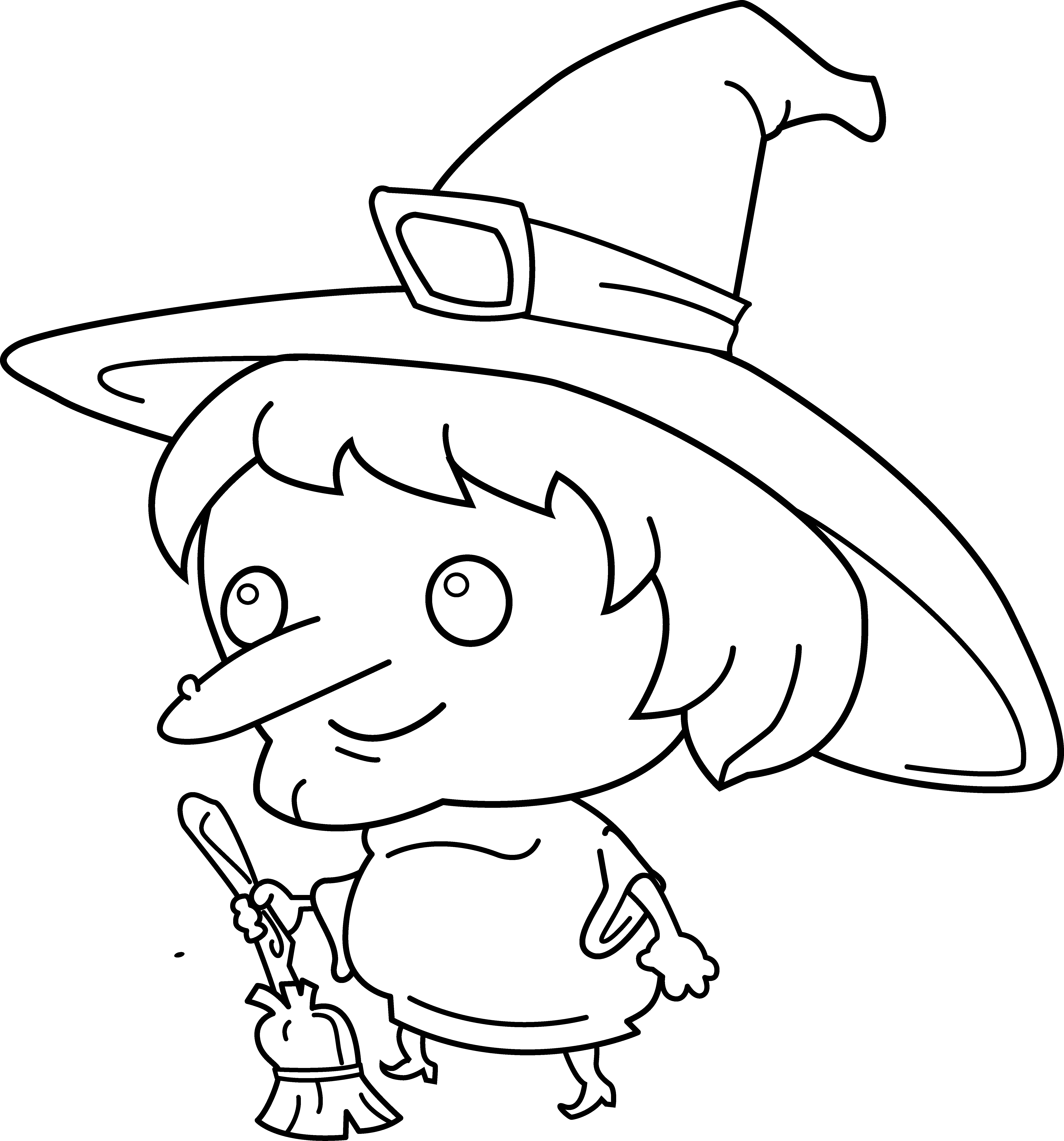 Witch Hat Clip Art Coloring Pages Cute Witch Coloring Page Free Clip Art Witch Coloring Pages Halloween Coloring Pages Fairy Coloring Pages