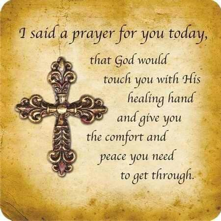 May God touch you with his healing hand today, Marie...Beverly
