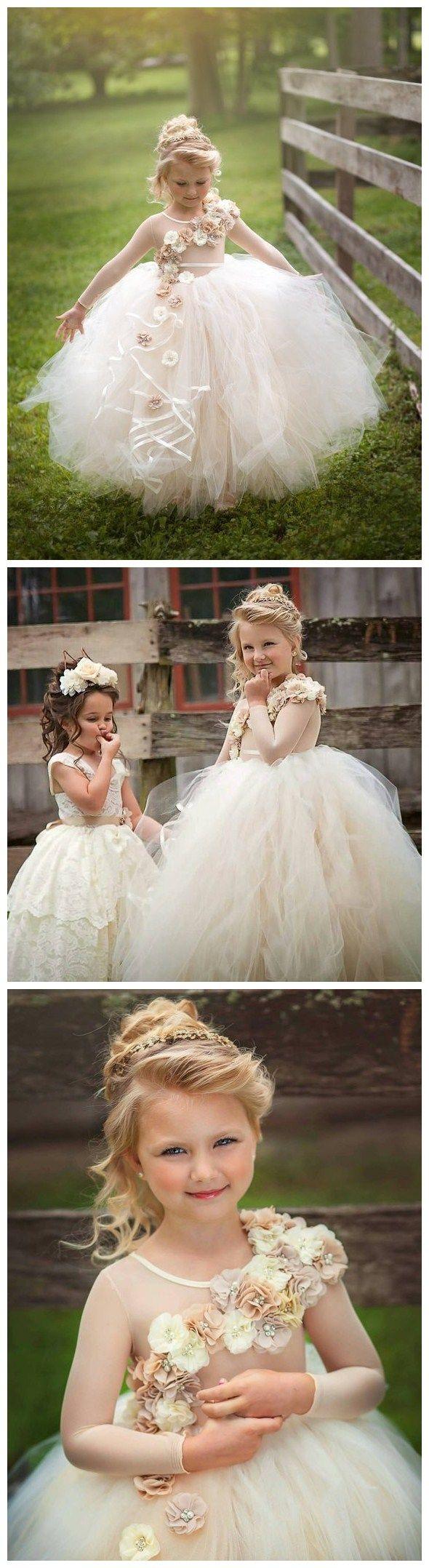 Romantic tulle jewel neckline ball gown flower girl dresses fd